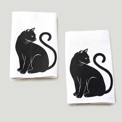 Lakeside Cat Theme Kitchen and Bathroom Towels for Hands or Dishes - Set of 2