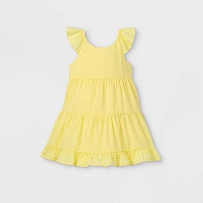 OshKosh B'gosh Toddler Girls' Eyelet Short Sleeve Dress - Yellow