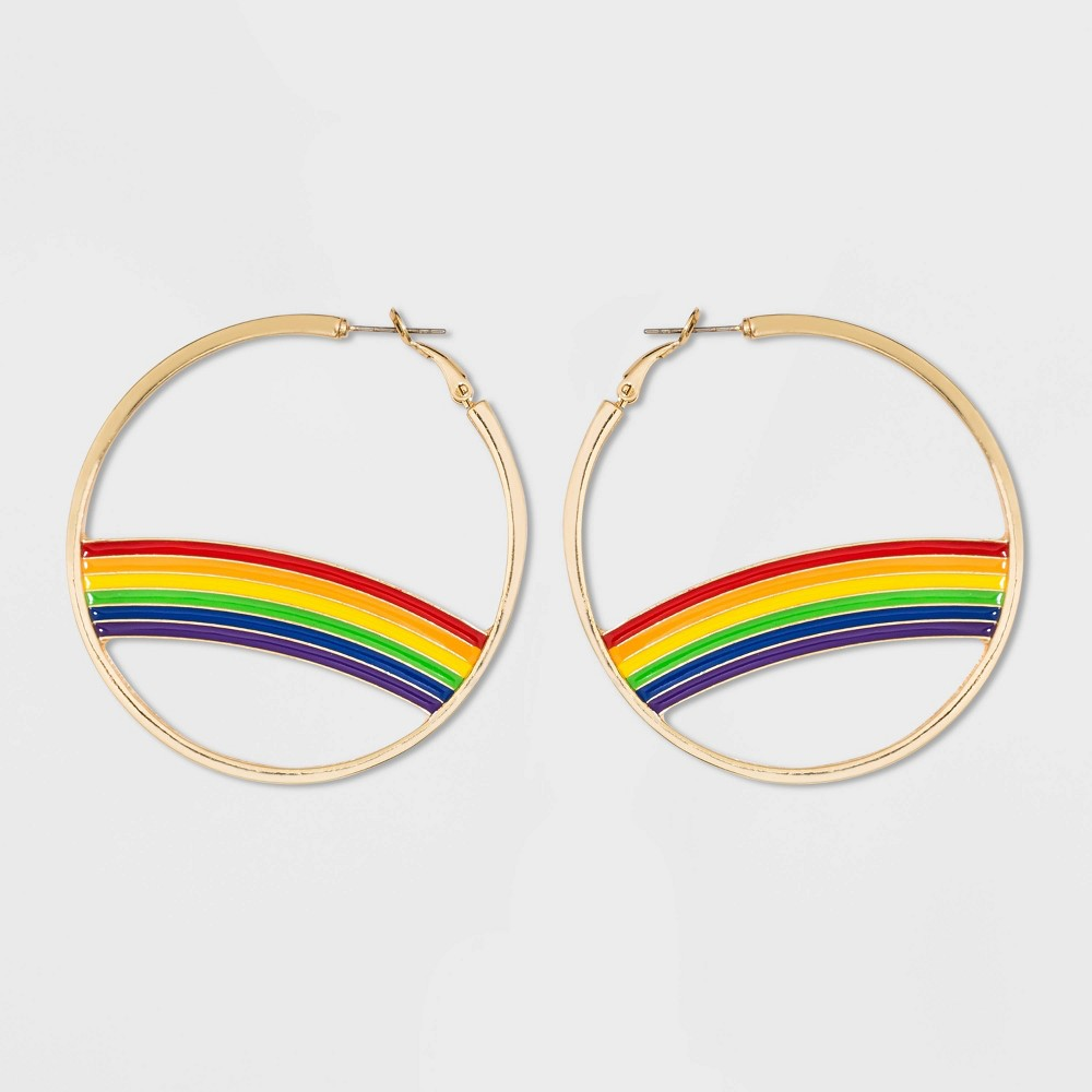 60s -70s Jewelry – Necklaces, Earrings, Rings, Bracelets Rainbow Detail Hoop Earrings - Wild Fable Gold $6.00 AT vintagedancer.com