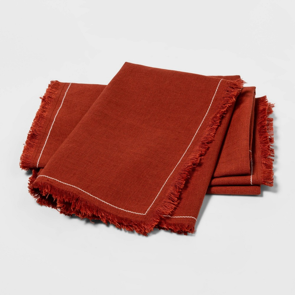 Image of 4pk Frayed Edge Napkins Orange - Threshold