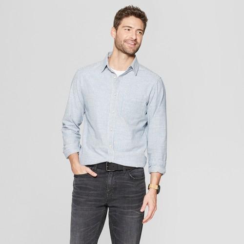 Men's Striped Long Sleeve Cotton Slub Button-Down Shirt - Goodfellow & Co White XL