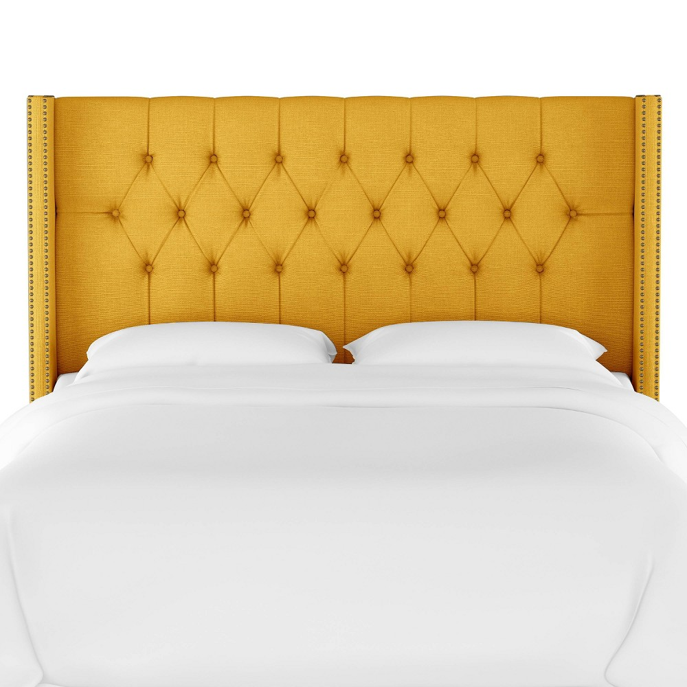 Queen Louis Diamond Tufted Wingback Headboard Yellow Linen with Brass Nail Buttons - Skyline Furniture Compare