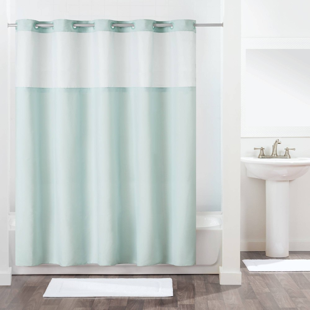 Image of Antigo Shower Curtain with Fabric Liner Blue - Hookless