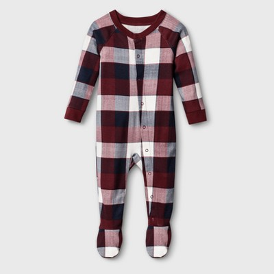 Baby Plaid Union Suit - Red 3-6M