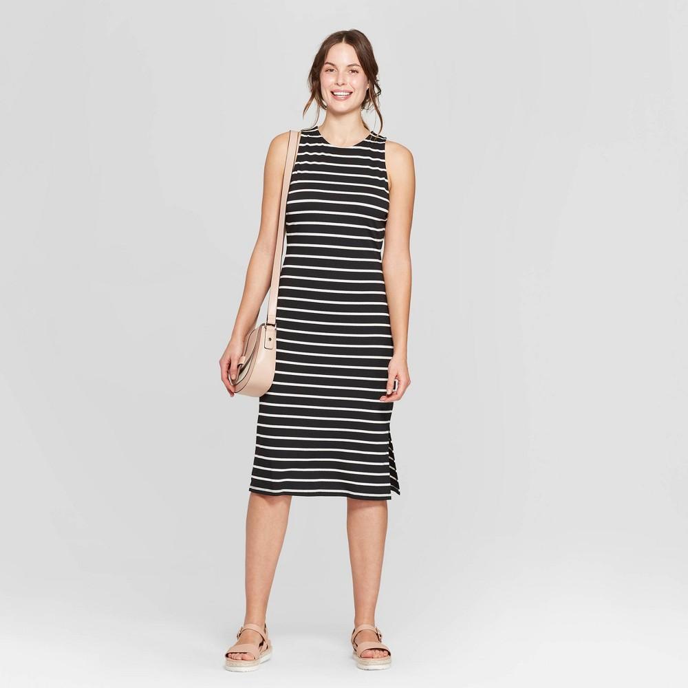 Women's Striped Sleeveless Crewneck Knit Dress - A New Day Black/White Xxl