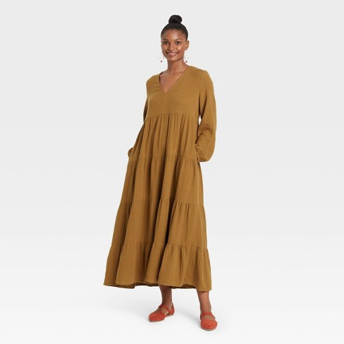 Women's Balloon Long Sleeve Tiered Dress - Universal Thread™ - image 1 of 3