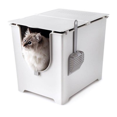 Modkat Flip Front-Entry Litter Box with Scoop and Reusable Liner, White