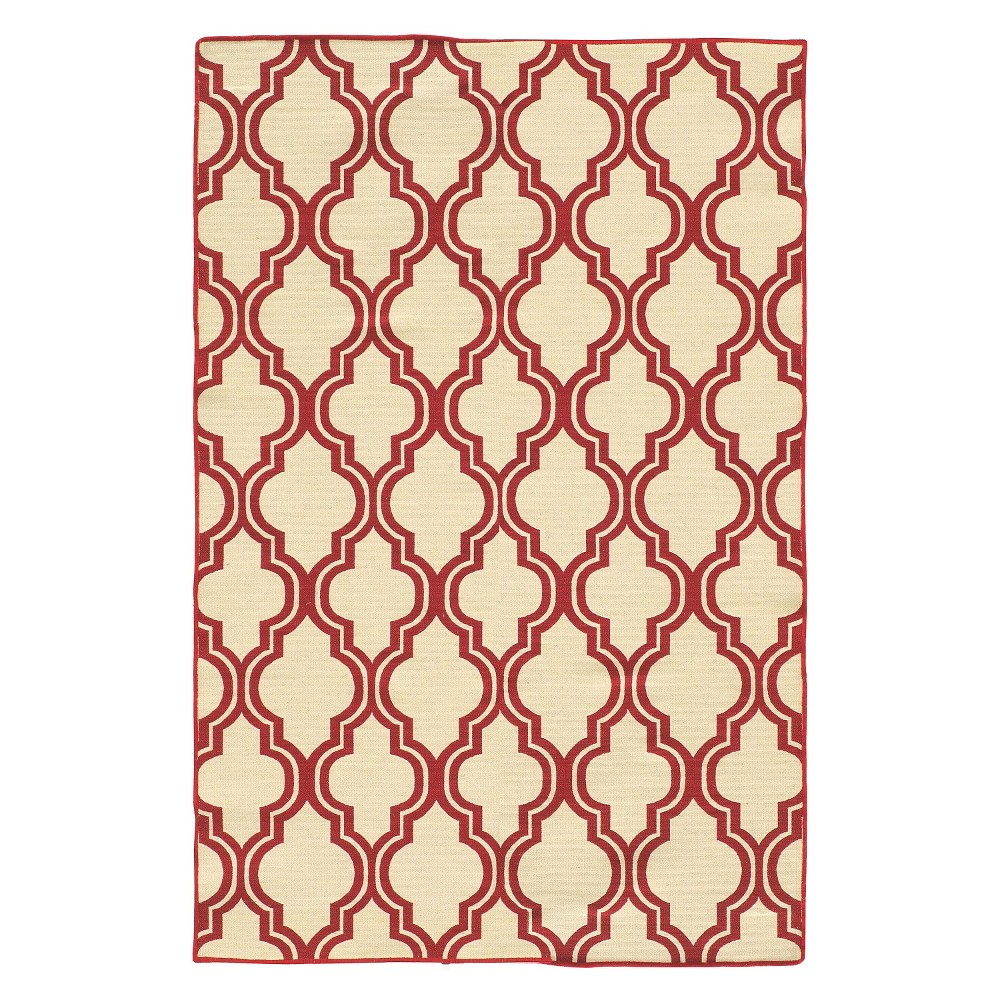 Image of 5'X7' quatrefoil Design Area Rug Red - Linon