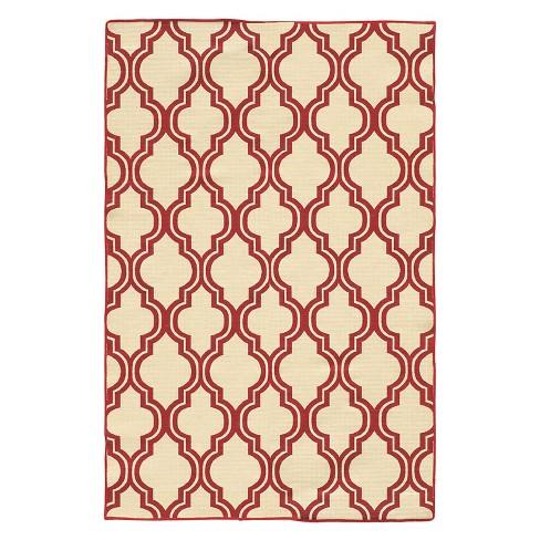 5'X7' quatrefoil Design Area Rug Red - Linon - image 1 of 1