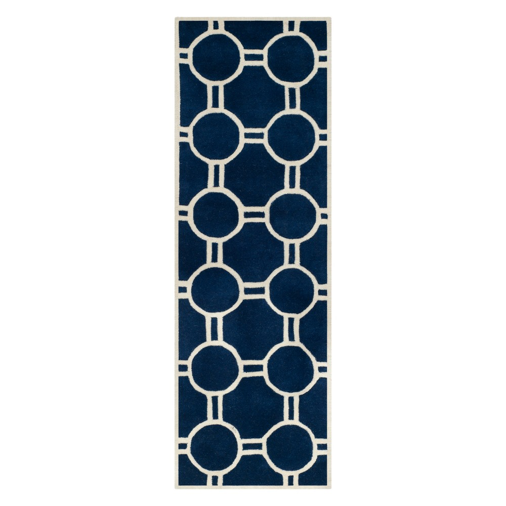 2'3X7' Geometric Tufted Runner Dark Blue/Ivory - Safavieh