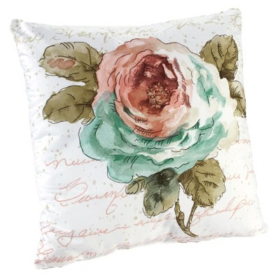Lakeside Rose Garden Throw Pillow - Decorative Accent Pillow with Vintage, Colorful Print