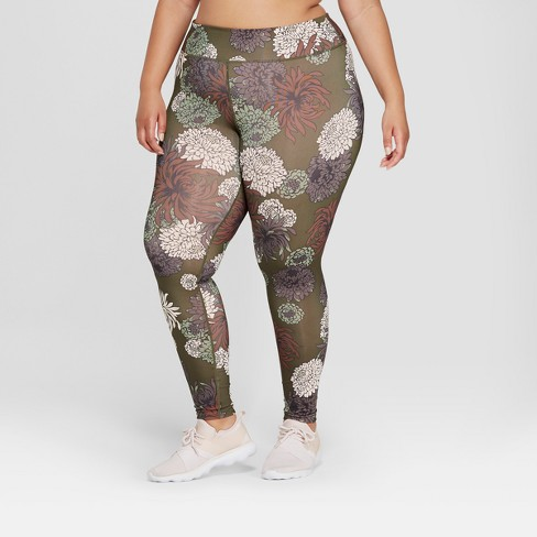 a70abff2b98 Women s Performance Plus Size Chrysanthemum Floral Print Mid-Rise Leggings  - JoyLab™ Olive
