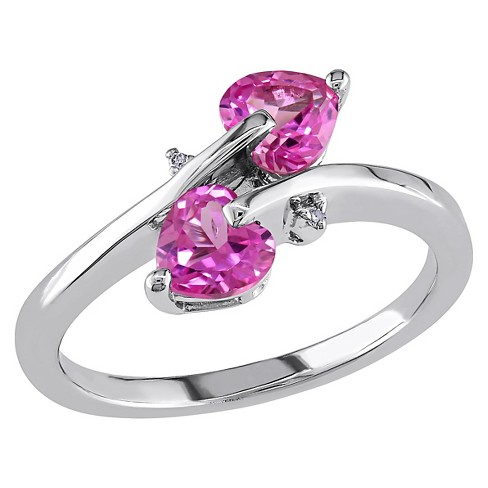 1 CT. T.W. Simulated Heart Shape Pink Sapphire and 0.007 CT. T.W. Diamond Ring in Sterling Silver (GH I3) - image 1 of 3