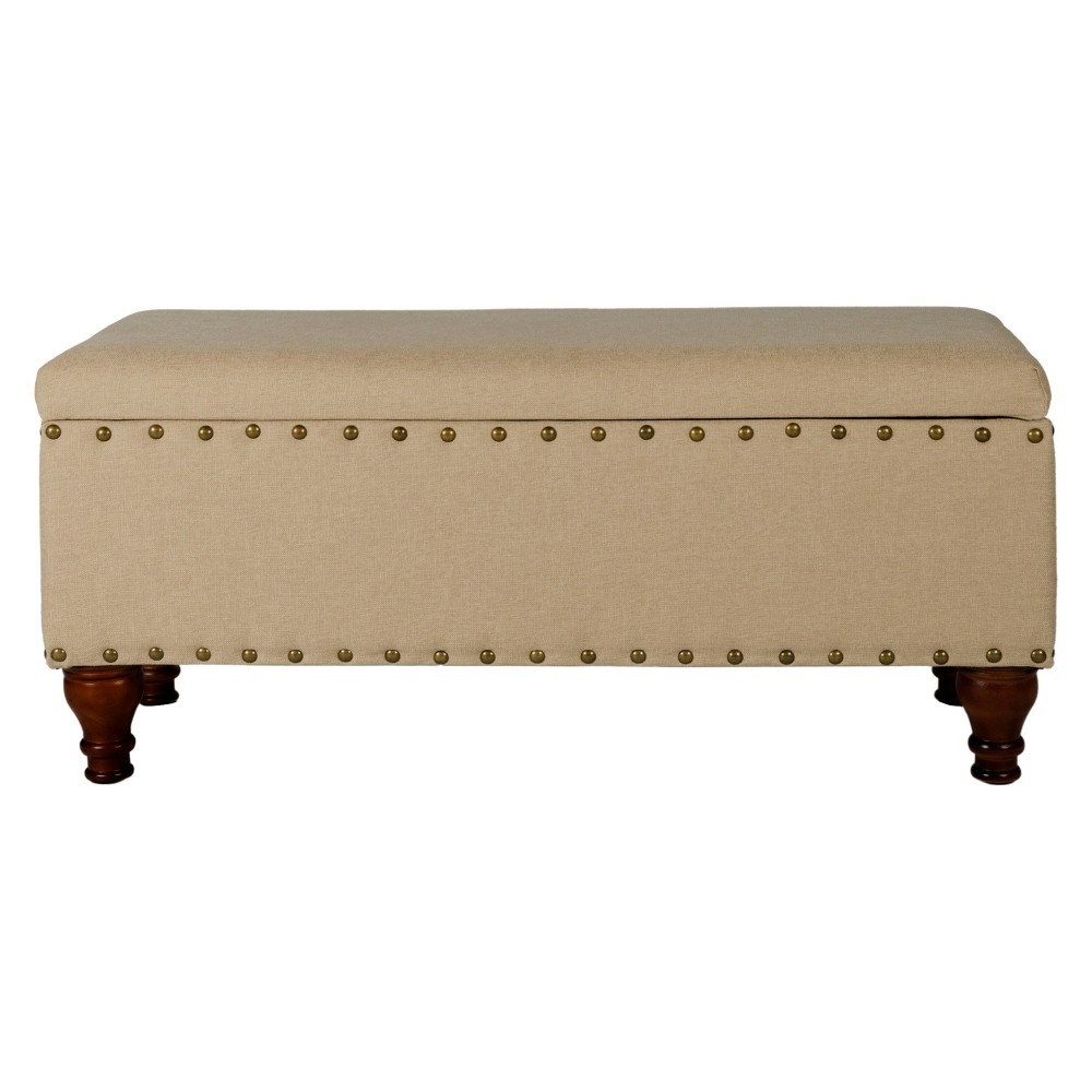 Large Storage Ottoman Bench with Nailheads - Tan - HomePop was $179.99 now $134.99 (25.0% off)