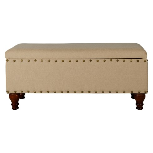 Astounding Large Storage Ottoman Bench With Nailheads Tan Homepop Ncnpc Chair Design For Home Ncnpcorg