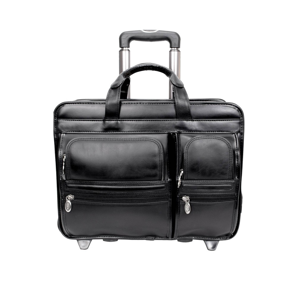 """Image of """"McKlein Clinton 17"""""""" Leather Patented Detachable - Wheeled Laptop Briefcase (Black), Size: Small"""""""