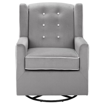 Nina Button Tufted Swivel Glider Graphite Gray - Baby Relax