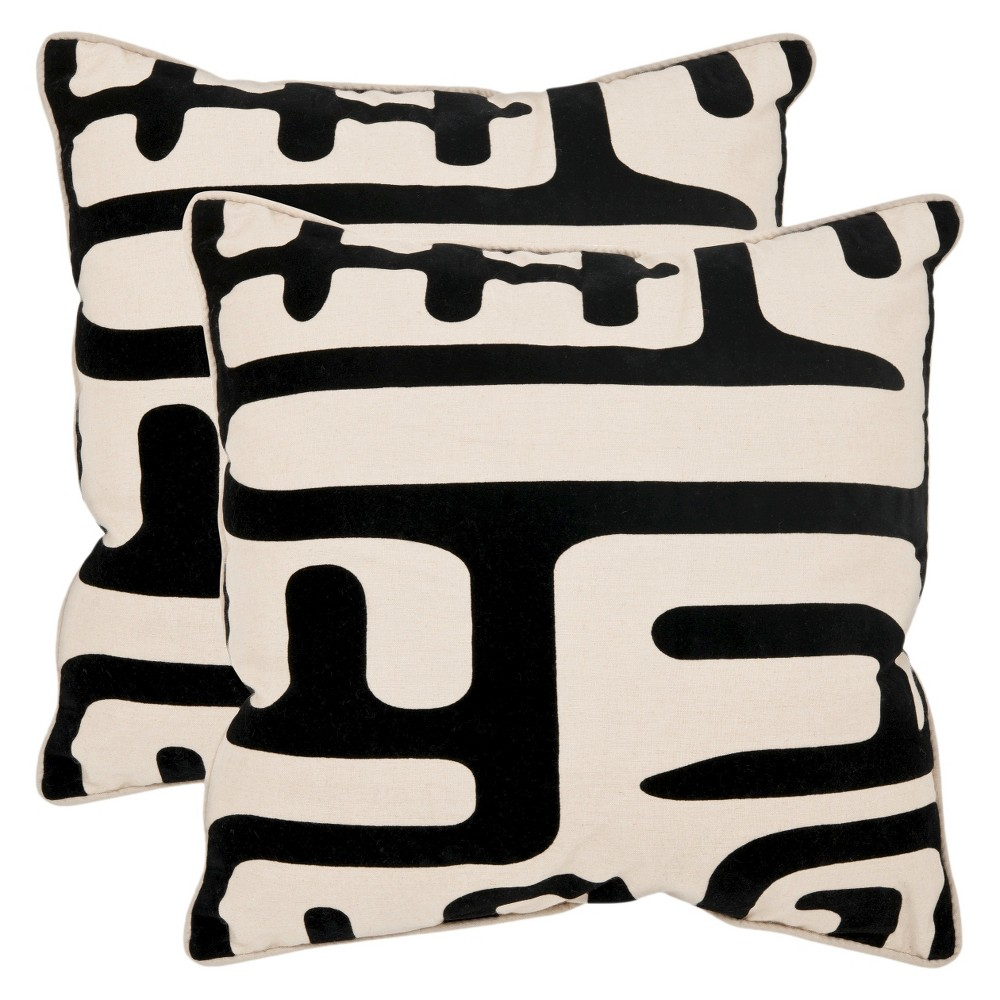 Black/White Abstract Throw Pillow 2 Pack (18
