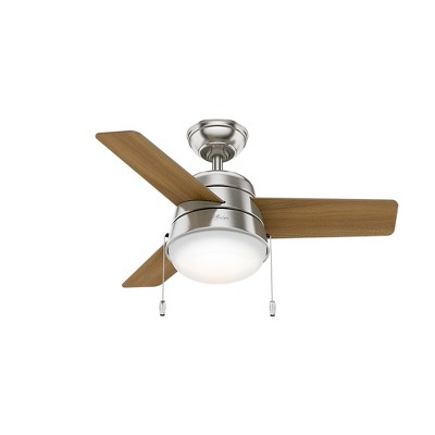 36  Aker LED Lighted Ceiling Fan Brushed Nickel - Hunter Fan