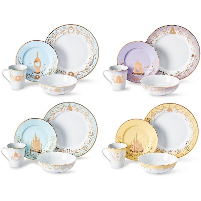 Robe Factory LLC Disney Themed 16 Piece Ceramic Dinnerware Set Collection 1 | Plates | Bowls | Mugs