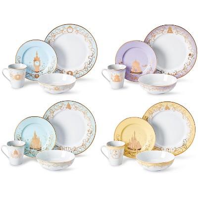 Robe Factory LLC Disney Princess 16-Piece Dinnerware Set | Cinderella, Jasmine, Ariel, Belle