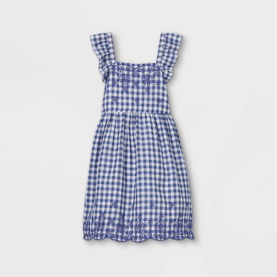 Girls' Short Flutter Sleeve Embroidered Woven Dress - Cat & Jack™