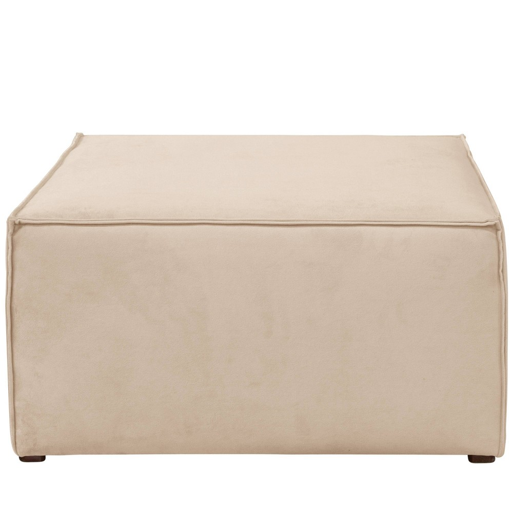 French Seamed Ottoman in Velvet Pearl Cream - Cloth & Co.