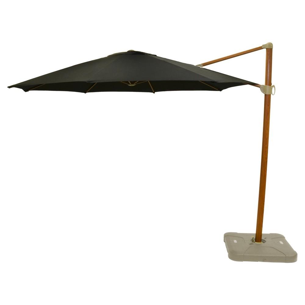11' Offset Sunbrella Umbrella - Canvas Black - Medium Wood Finish - Smith & Hawken