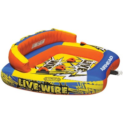 Airhead AHLW-3 Live Wire 3 Inflatable 1-3 Rider Boat Towable Lake Water Tube with Dual Tow Points, Speed Safety Valve, and Handles
