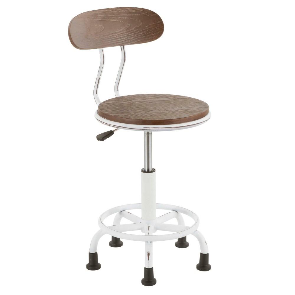Dakota Industrial Task Chair Vintage White - LumiSource
