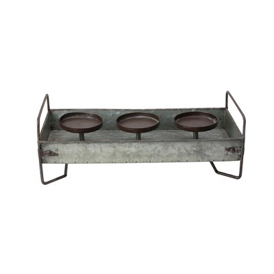 "Raz 15"" Rustic Galvanized Metal Triple Christmas Pillar Candle Holder Tray - Brown"