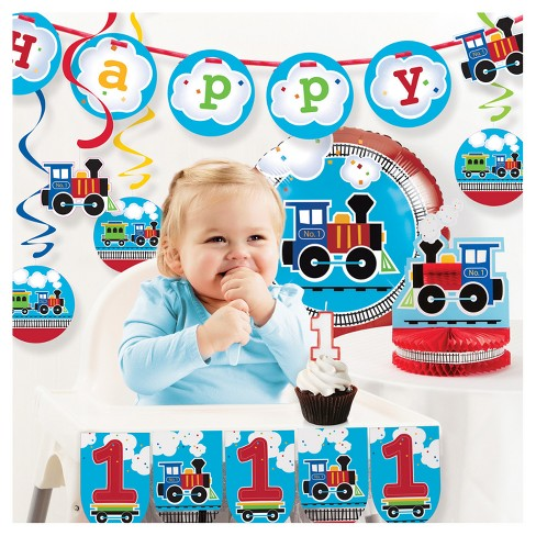 All Aboard Train 1st Birthday Party Decorations Kit - image 1 of 1