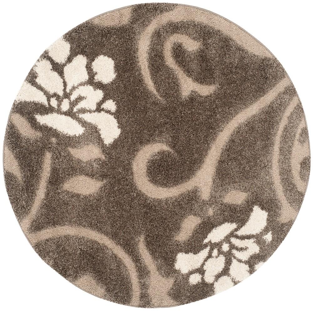 8' Floral Loomed Round Area Rug Smoke/Beige (Grey/Beige) - Safavieh