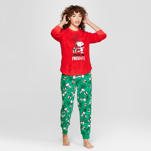 616c60b3c5 Women s Peanuts Snoopy Holiday Cozy Pajama Set - Red   Target
