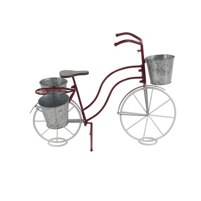 """23"""" Eclectic Tin Novelty Bicycle Plant Stand Red/Gray - Olivia & May"""