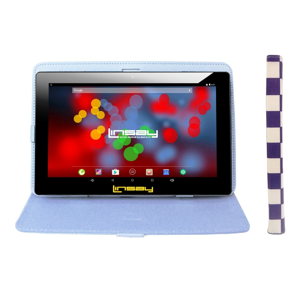 Linsay 10.1 Quad Core 1280x800 Ips Screen Tablet with Square Case - White/Blue, Black