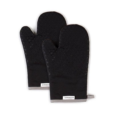 "KitchenAid 2pk 7""X12.5"" Asteroid Oven Mitts Black"