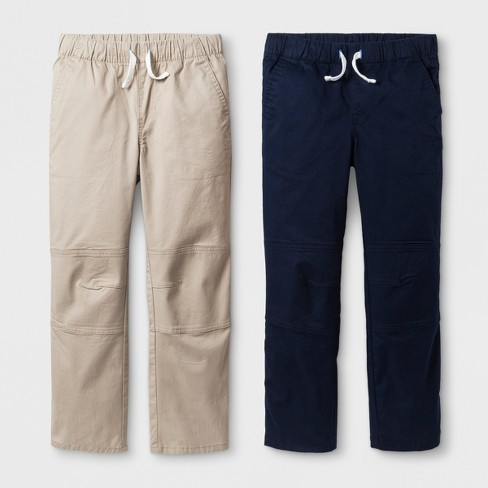 Boys' 2pk Pull-On Pants - Cat & Jack™ Beige/Blue - image 1 of 2