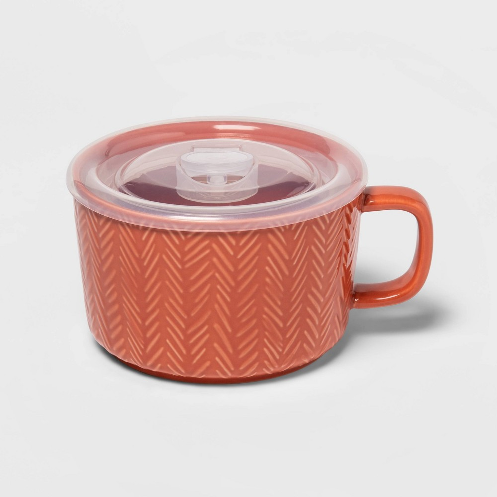 Image of 17.6oz Stoneware Soup Mug Coral - Threshold , Pink