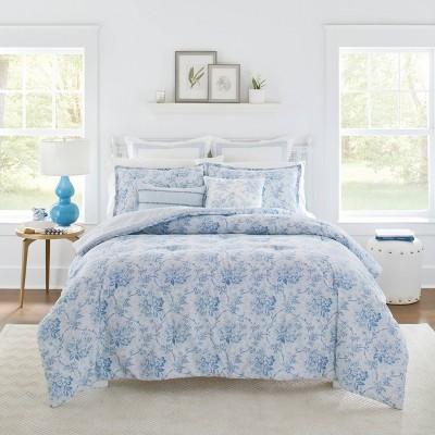 Full/Queen Comforter Sham Set Blue - Laura Ashley Nina