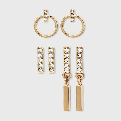 Small Hoop Linear Drop Bar Stud  Earring Set 3pc - A New Day™ Gold
