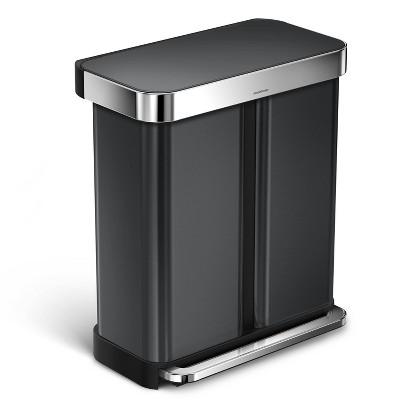 simplehuman 58L Dual Compartment Rectangular Recycling Step Trash Can Black