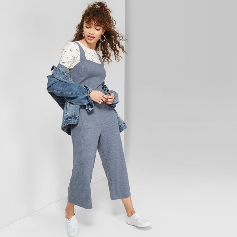 7a40bd5024 Women s Sleeveless Square Neck Strappy Rib Knit Cropped Jumpsuit - Wild  Fable™ Blue   Target