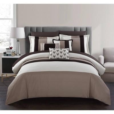 King 10pc Hester Bed In A Bag Comforter Set Beige - Chic Home Design