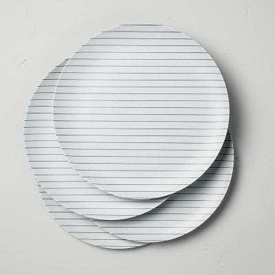 Bamboo Melamine Stripes Dinner Plate Ebony/Sour Cream - Hearth & Hand™ with Magnolia