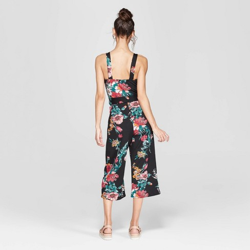 a4818f76efb2 Women s Floral Print Strappy Tie Front Cropped Knit Jumpsuit - Xhilaration™    Target