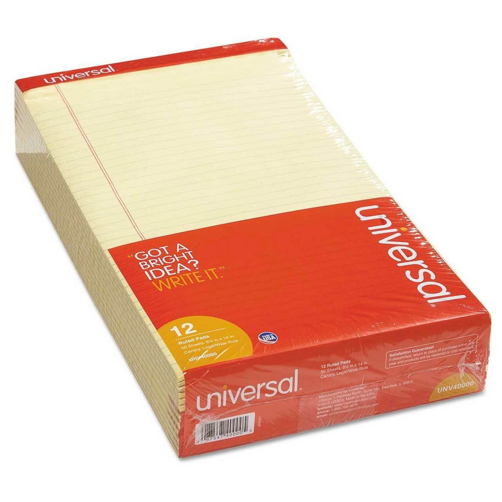 Universal Perforated Edge Writing Pad, Legal Rule, 50 Ct, 12 Pk - Canary (Yellow)