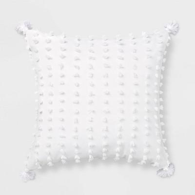Euro Clipped Tassled Throw Pillow White - Opalhouse™