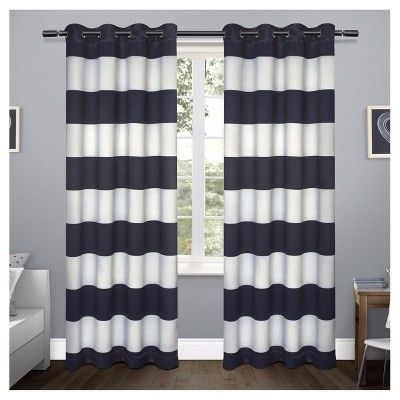 Sateen Rugby Stripe Curtain Panel Set Navy (54 x84 )- Exclusive Home