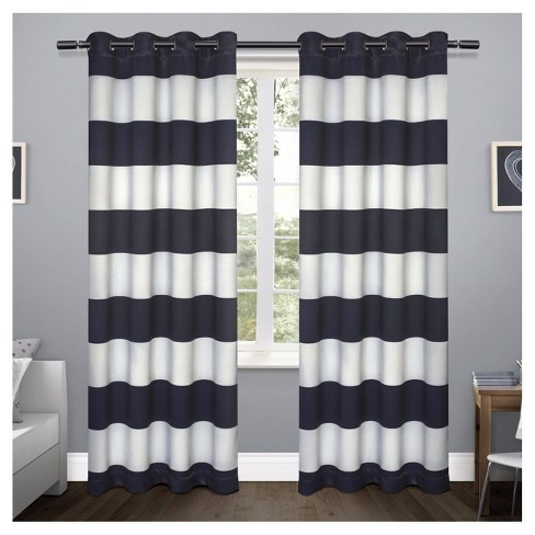 Rugby Stripe Sateen Room Darkening Curtain Panel Set - Exclusive Home - image 1 of 4